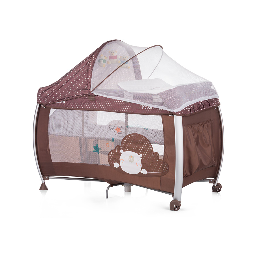 Cestovná postieľka Play pen and Crib Casida - brown bear