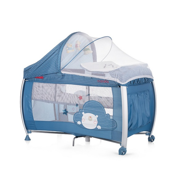 Cestovná postieľka Play pen and Crib Casida - blue bear